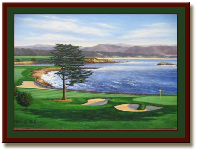 Pebble Beach 18th Hole Print Framed Golf Art Picture
