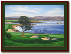 Pebble Beach 18th Hole Print Framed Golf Art Print