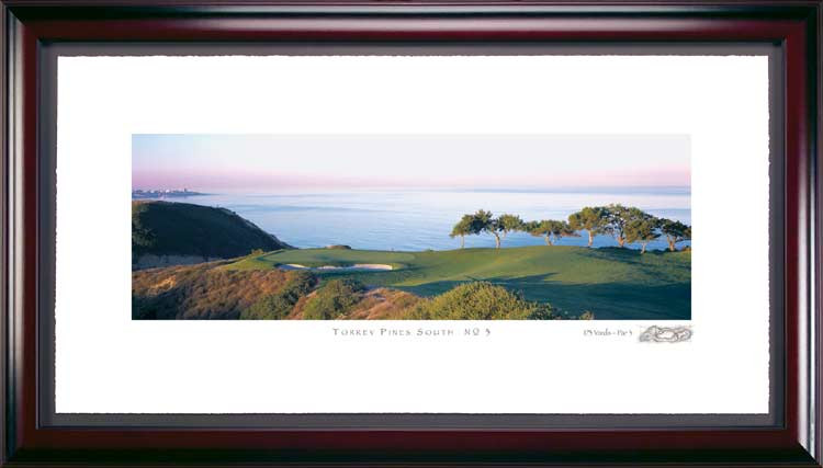 Torrey Pines South Course #3 Hole Framed Golf art