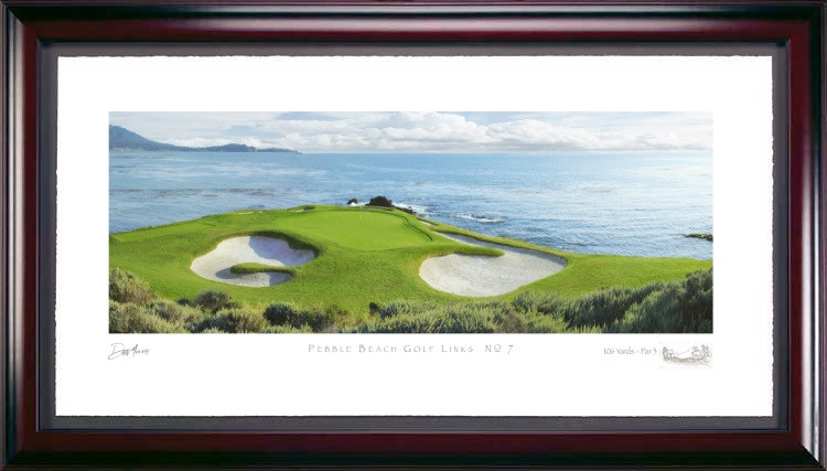 Pebble Beach 7th Hole Golf Photo Framed Picture