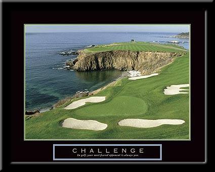 Challenge Motivational Golf Framed Poster