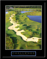 Challenge Vertical Motivational Golf Framed Poster