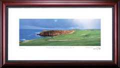 Pebble Beach 8th Hole with Cliff Golf Photo Framed Picture