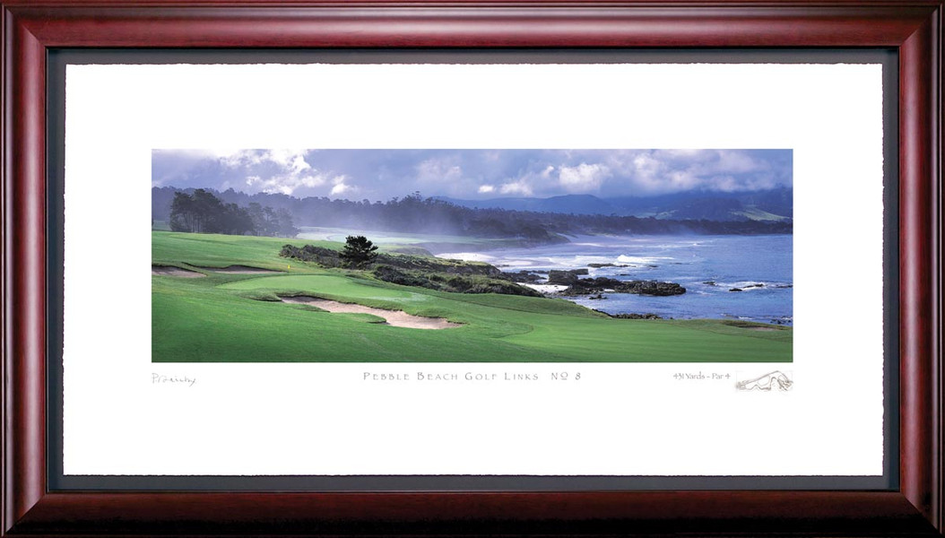 Pebble Beach 8th Hole Golf Photo without Cliff Framed Picture
