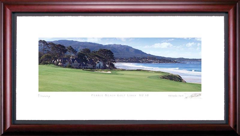 Pebble Beach 10th Hole Framed Golf Art Print