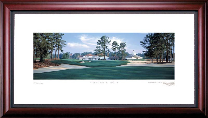 Pinehurst Course 4 18th Hole Framed Golf Art Print