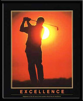 Excellence Inspirational Golf Framed Poster