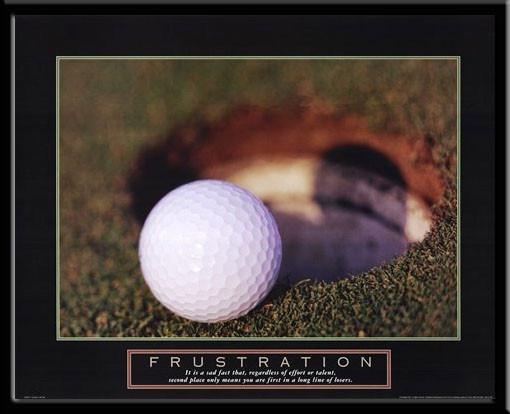 Frustration Inspirational Golf Framed Poster