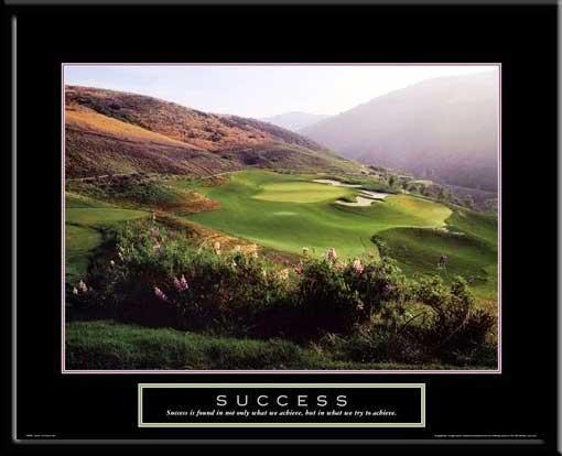 Success Inspirational Golf Art Framed Poster