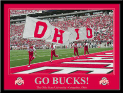 Go Bucks! Ohio State Cheerleaders Carry the Flags