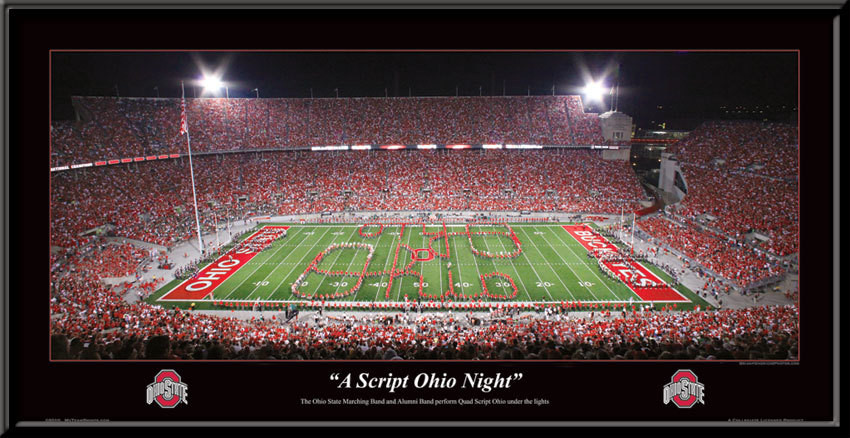 """Ohio State """"A Script Ohio Night"""" Framed Poster"""