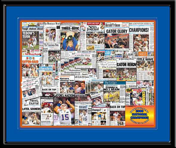 Florida Gators Front Page News Headlines 2008 Championship Poster