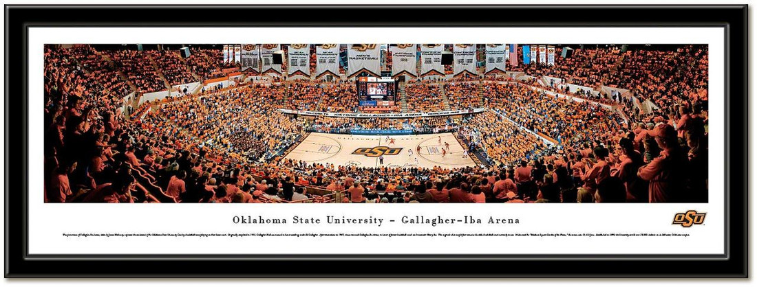 Oklahoma State Gallagher-Iba Arena Framed Basketball Poster no mat