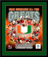 Miami Hurricanes All Time Greats Framed Pictures