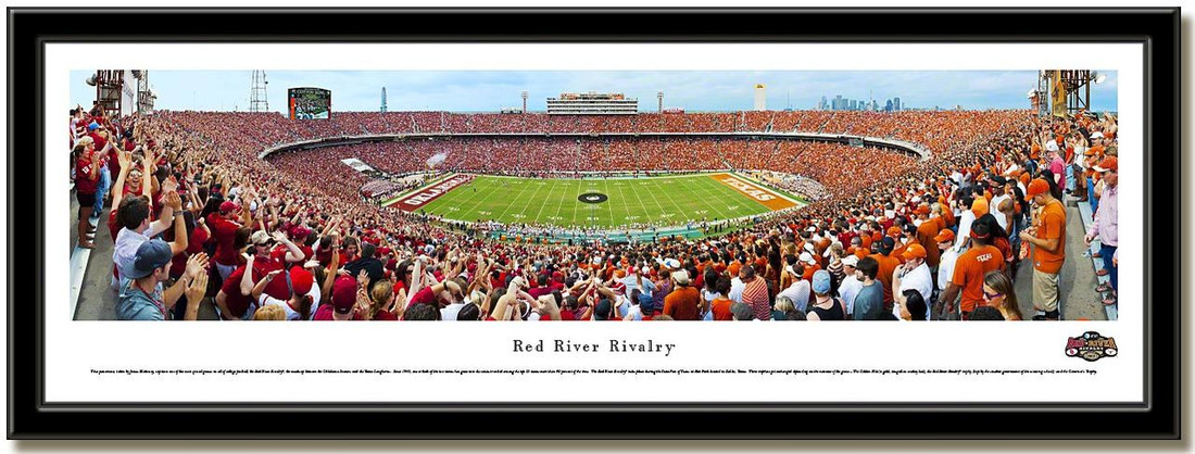 Red River Rivalry Panoramic Framed Picture no matting