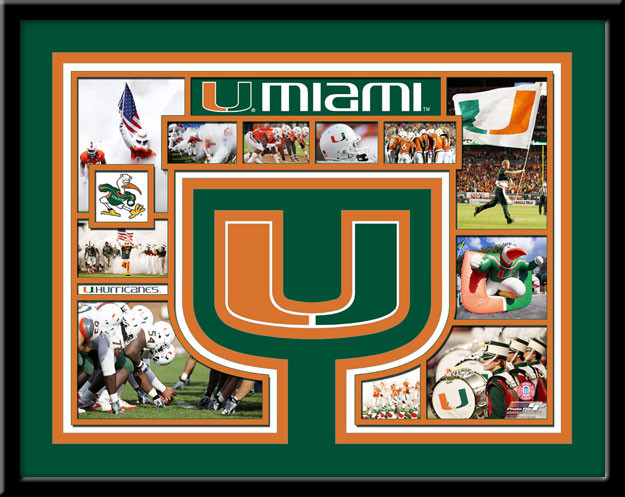 Miami Hurricanes Memories Collage Framed