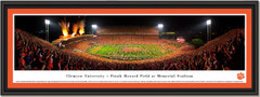 Clemson Frank Howard Field Night Game Framed Picture single matted and black frame