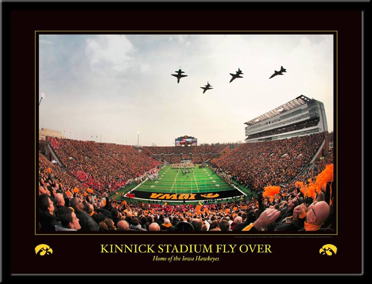 Iowa Kinnick Stadium Fly Over Framed Poster