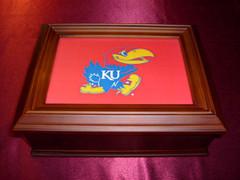 Kansas Jayhawks Logo Wooden Gift Box