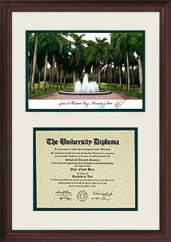 University of Miami Scholar Diploma Frame