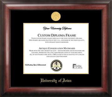 University of Iowa Gold Embossed Diploma Frame
