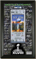 Seattle Seahawks Super Bowl 48 Signature Ticket Framed