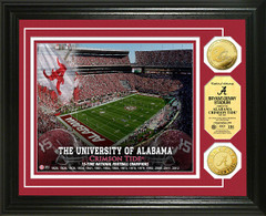 Alabama Bryant Denny Stadium Gold Coin Framed Picture