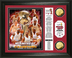 2013 NBA Champions Miami Heat Gold Coin Framed Picture