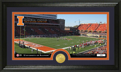 Illinois Memorial Stadium Photo with Bronze Coin Photo Mint