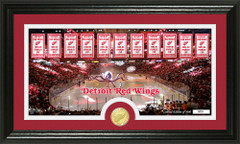 Detroit Red Wings Championships Photo and Coin Framed Picture
