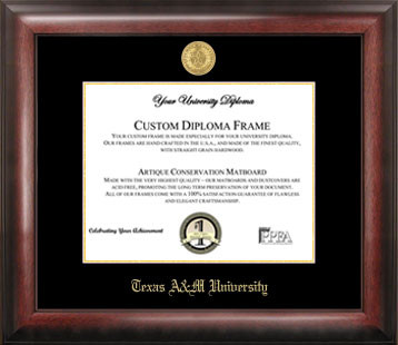 Texas A & M University Gold Embossed Diploma Frame