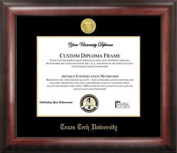 Texas Tech University Gold Embossed Diploma Frame