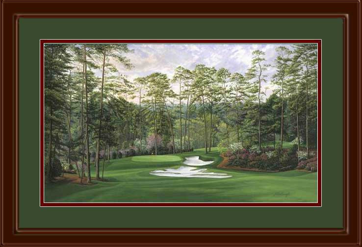 Augusta 10th hole Camellia framed golf art