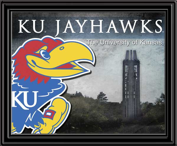 KU Jaykawks University Mascot and Campanile Framed Picture