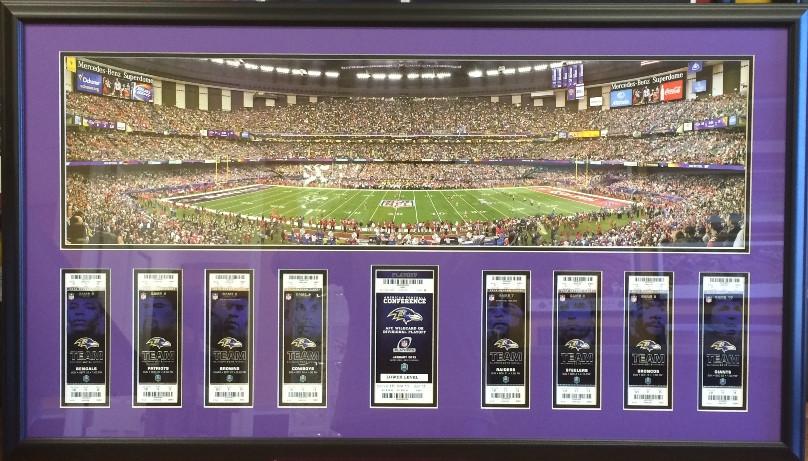 Game ticket framing season tickets