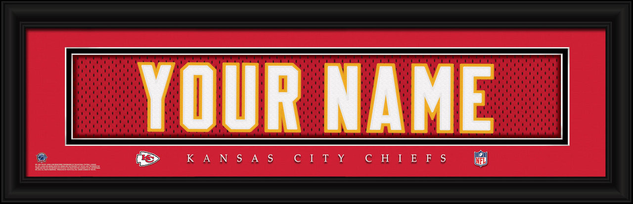 Kansas City Chiefs Personalized Jersey Nameplate Framed Print  free shipping