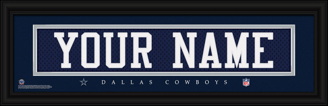 pretty nice 242f4 95d5d Dallas Cowboys Personalized Jersey Nameplate Framed Print