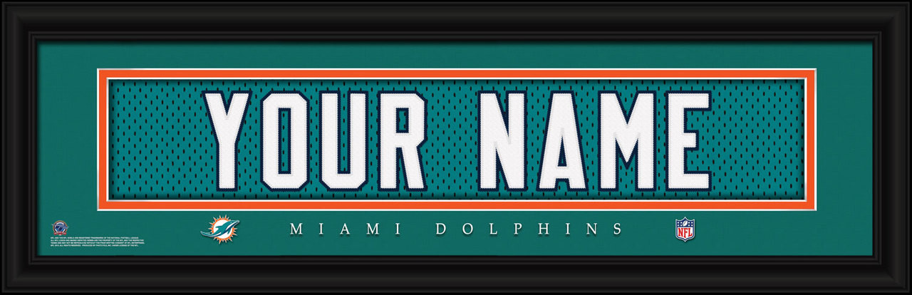 buy online 527cf 01b63 Miami Dolphins Personalized Jersey Nameplate Framed Print