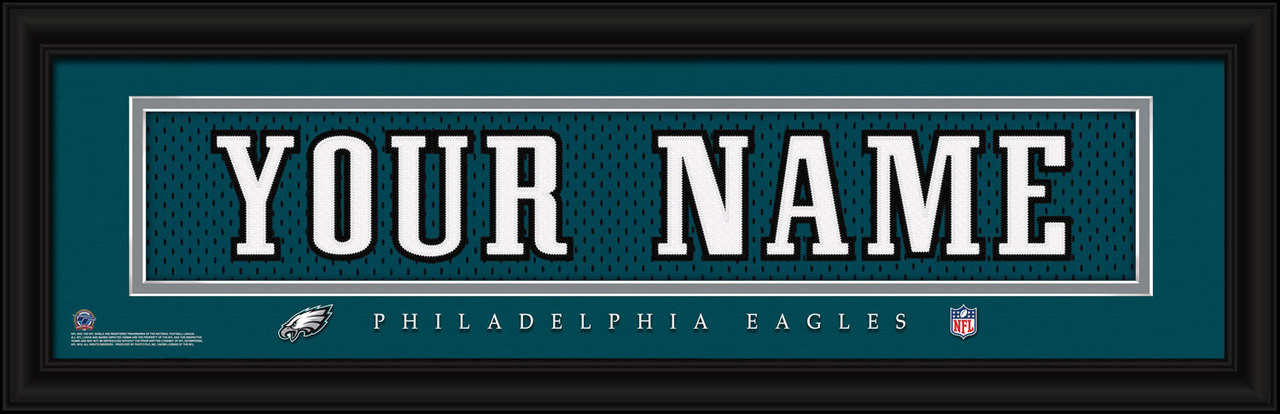 low priced 144ef 05bcb Philadelphia Eagles Personalized Jersey Nameplate Framed Print