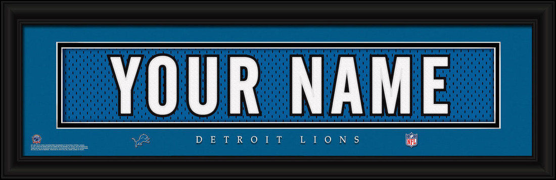 Detroit Lions Personalized Jersey Nameplate Framed Print