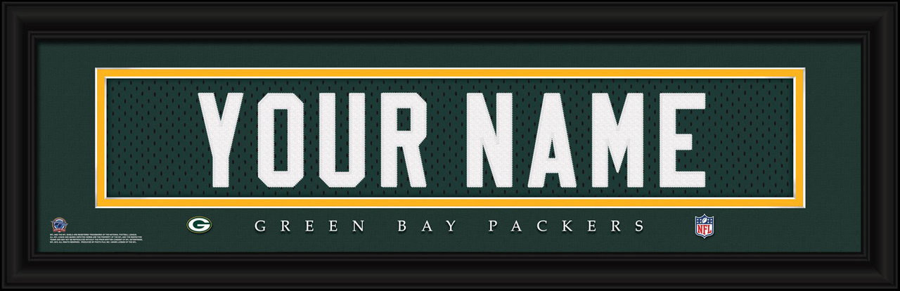 Green Bay Packers Personalized Jersey Nameplate Framed Print