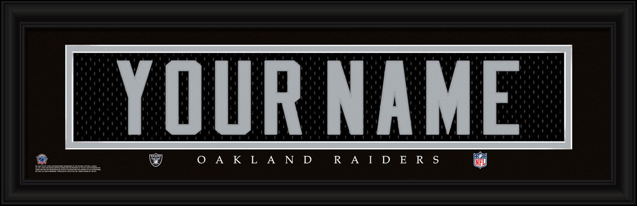 Oakland Raiders Personalized Jersey Nameplate Framed Print