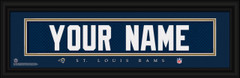 St Louis Rams Personalized Jersey Nameplate Framed Print