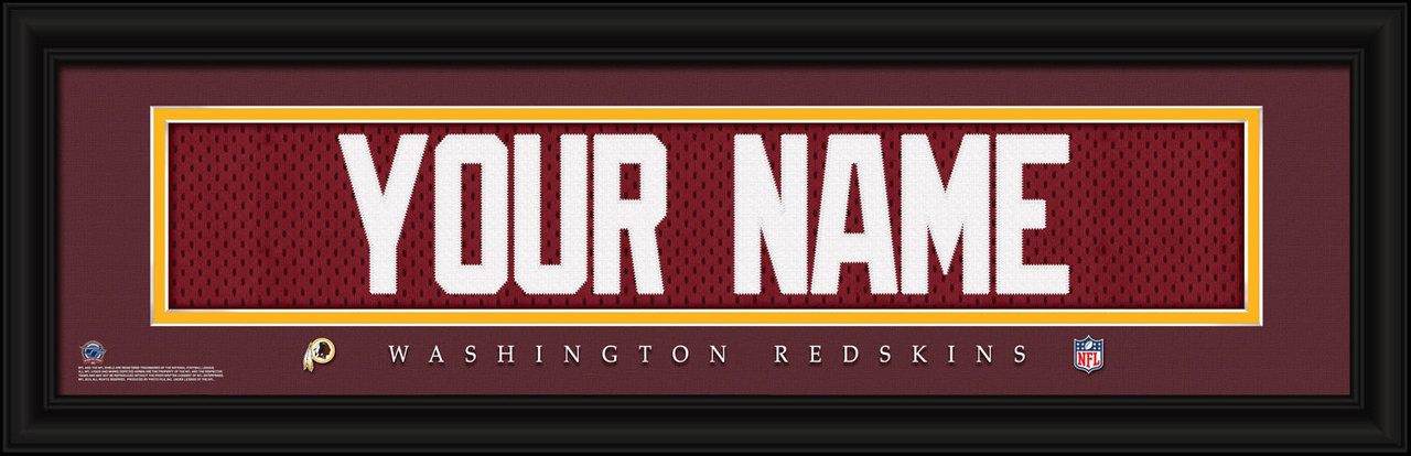 info for 0f02b d9ab5 Washington Redskins Personalized Jersey Nameplate Framed Print
