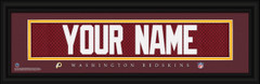Washington Redskins Personalized Jersey Nameplate Framed Print