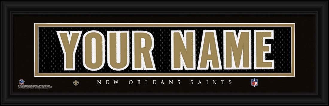 New Orleans Saints Personalized Jersey Nameplate Framed Print