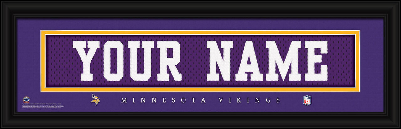 quality design 4c53a aedc0 Minnesota Vikings Personalized Jersey Nameplate Framed Print
