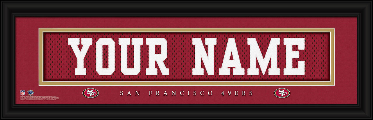 b9f1ac955 San Francisco 49ers Personalized Jersey Nameplate Framed Print