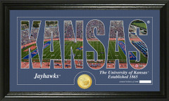 Kansas Jayhawks Word Art Coin Photo Mint
