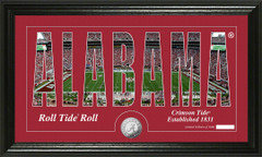 Alabama Crimson Tide Word Art Coin Photo Mint